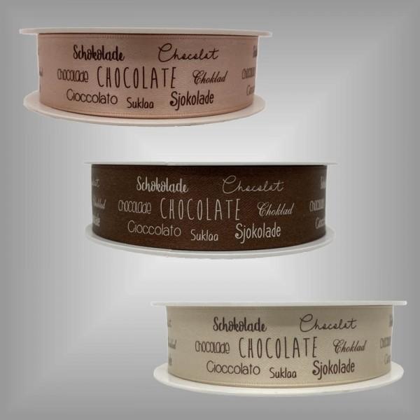 Santinband 25 mm x 25 m mit Druck Schokolade