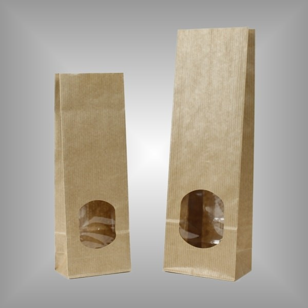 Papierblockbodenbeutel mit Sichtfenster und Innenfolie
