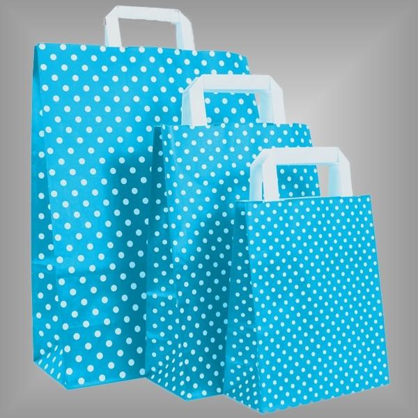 250 Papiertüten hellblau mit weißen Punkten