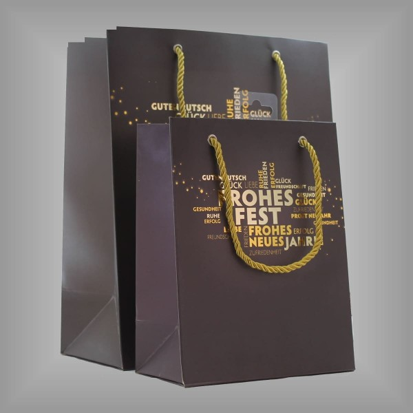 "12 Lacktaschen taupe ""Frohes Fest"""