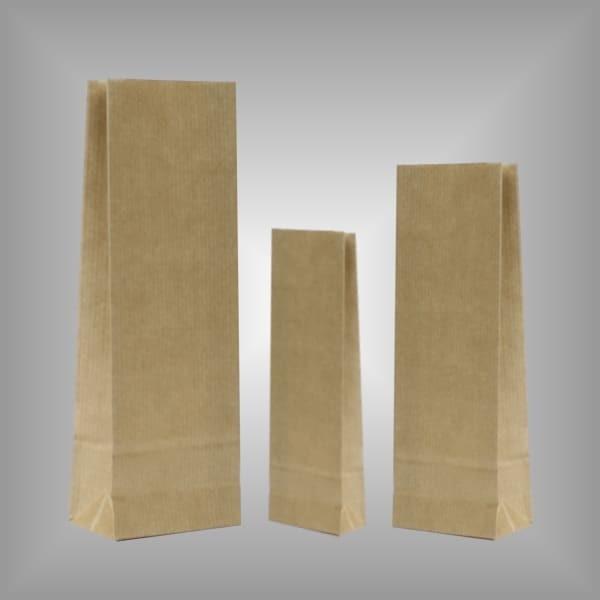 Papierblockbodenbeutel braun mit Innenlage aus Pergamin